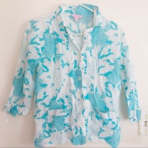 Lilly Pulitzer Pajama Top Blue and White Small